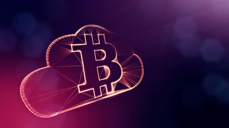 opaque : Sign of bitcoin logo inside the cloud. Financial background made of glow particles as vitrtual hologram. Shiny 3D loop animation with depth of field, bokeh and copy space. Violet v6