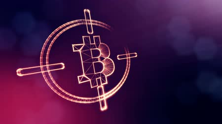 fintech : Sign of bitcoin at gunpoint. Financial background made of glow particles as vitrtual hologram. Shiny 3D loop animation with depth of field, bokeh and copy space. Violet v6 Stock Footage