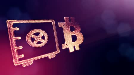embléma : Sign of bitcoin and safe. Financial background made of glow particles as vitrtual hologram. Shiny 3D loop animation with depth of field, bokeh and copy space. Violet v6