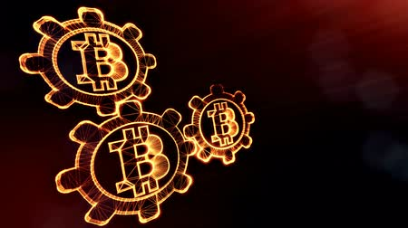 sagrado : Sign of bitcoin and gears. Financial background made of glow particles as vitrtual hologram. Shiny 3D loop animation with depth of field, bokeh and copy space. Dark version v6
