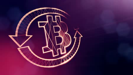 morph : logo bitcoin inside the circular arrows. Financial background made of glow particles as vitrtual hologram. Shiny 3D loop animation with depth of field, bokeh and copy space. Violet v6 Stock Footage
