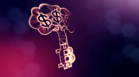 ツリー : Sign of dollar tree grows from the bitcoin logo. Financial background made of glow particles as vitrtual hologram. Shiny 3D loop animation with depth of field, bokeh and copy space. Violet v6 動画素材