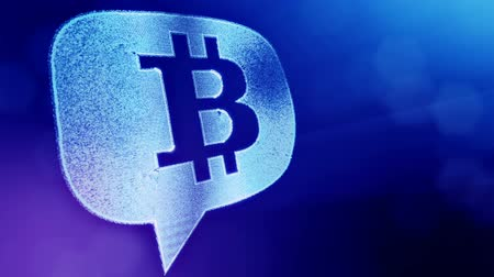 sorguç : bitcoin logo inside a message cloud. Financial background made of glow particles as vitrtual hologram. Shiny 3D loop animation with depth of field, bokeh and copy space. Blue v6