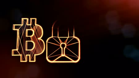 logo elements : Bitcoin logo logo and emblem of lock. Financial background made of glow particles as vitrtual hologram. Shiny 3D loop animation with depth of field, bokeh and copy space. Dark version v6
