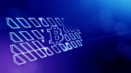 gibi : Sign of bitcoin in the prohibitory sign. Financial background made of glow particles as vitrtual hologram. Shiny 3D loop animation with depth of field, bokeh and copy space. Blue v6 Stok Video