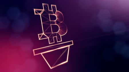 emblema : Sign of bitcoin as houseplant. Financial background made of glow particles as vitrtual hologram. Shiny 3D loop animation with depth of field, bokeh and copy space. Violet v6
