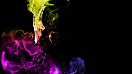 multicolorido : 4k glow particles move in a stream of liquid in front of the camera in slow motion. 3d ink effect for luminous particles, advection. Use luma matte as alpha channel to cut particles. Multicolored 7 Vídeos