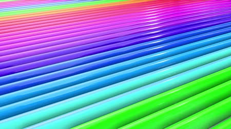 peppy : Abstract 3d seamless bright background in 4k with rainbow tapes. Rainbow multicolored stripes move cyclically in simple geometry cartoon creative style. Looped smooth animation. 35