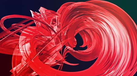 tahy : looped 3d smooth animation of bright shiny ribbons curled in circle glitters like glass. Colorful stripes twist in a circular formation, move in a circle. Seamless creative background. Red 2