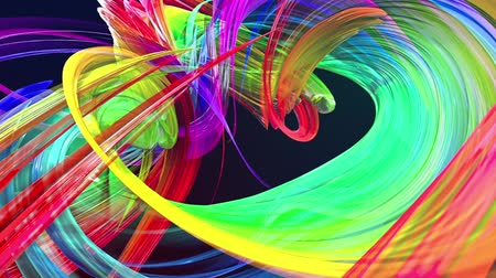 lifler : looped 3d smooth animation of bright shiny ribbons curled in circle glitters like glass. Colorful stripes twist in a circular formation, move in a circle. Seamless creative background. Multicolored 2 Stok Video
