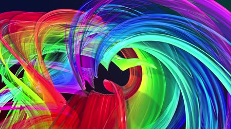 tahy : looped 3d smooth animation of bright shiny ribbons curled in circle glitters like glass. Colorful stripes twist in a circular formation, move in a circle. Seamless creative background. Multicolored 7
