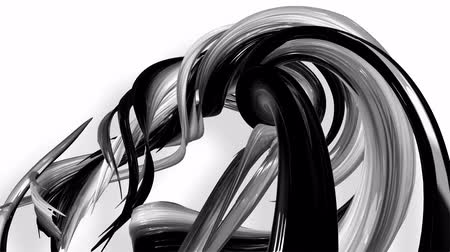 arc : 3D looped animation of abstract black-white ribbons twisting and move around with glitter in the light. 4k seamless footage with luma matte as alpha channel for easy change background. Ver. 2 Stock Footage
