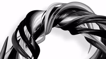 csillogás : 3D looped animation of abstract black-white ribbons twisting and move around with glitter in the light. 4k seamless footage with luma matte as alpha channel for easy change background. Ver. 6