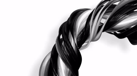 sheen : 3D looped animation of abstract black-white ribbons twisting and move around with glitter in the light. 4k seamless footage with luma matte as alpha channel for easy change background. Ver. 9