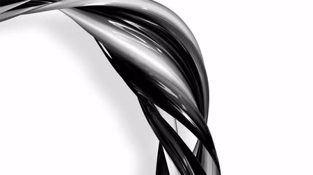 elegancia : 3D looped animation of abstract black-white ribbons twisting and move around with glitter in the light. 4k seamless footage with luma matte as alpha channel for easy change background. Ver. 74