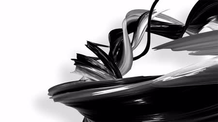 sheen : 3D looped animation of abstract black-white ribbons twisting and move around with glitter in the light. 4k seamless footage with luma matte as alpha channel for easy change background. Ver. 80