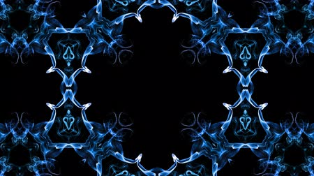 mosaico : Abstract particles background. 4k luminous particles move in liquid flow form kaledoscopic structures. Ink effect with luma matte as alpha channel. Glow blue particles on black background 9
