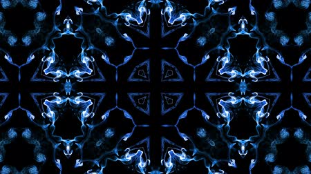 シンメトリック : Abstract particles background. 4k luminous particles move in liquid flow form kaledoscopic structures. Ink effect with luma matte as alpha channel. Glow blue particles on black background 8 動画素材