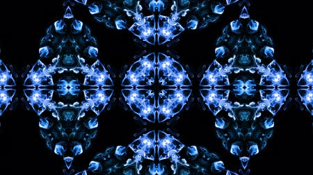 visual effect : Abstract particles background. 4k luminous particles move in liquid flow form kaledoscopic structures. Ink effect with luma matte as alpha channel. Glow blue particles on black background 6
