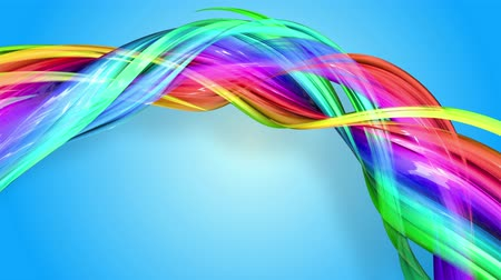 abstract animated : Rainbow stripes are moving in a circle and twisting as abstract background. 4