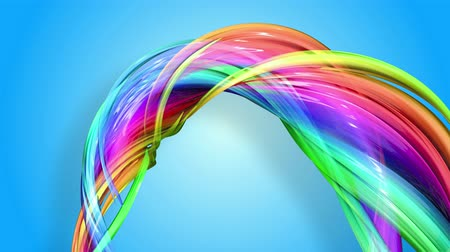 folyamatos : Rainbow stripes are moving in a circle and twisting as abstract background. 8