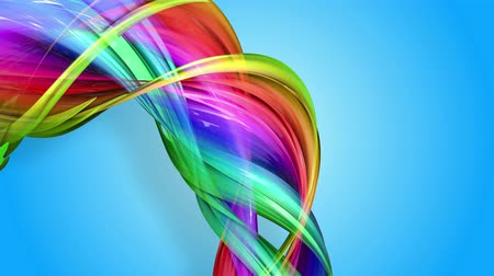 folyamatos : Rainbow stripes are moving in a circle and twisting as abstract background. 18 Stock mozgókép