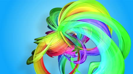 sheen : Rainbow stripes are moving in a circle and twisting as abstract background. 24 Stock Footage