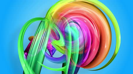folyamatos : Rainbow stripes are moving in a circle and twisting as abstract background. 43