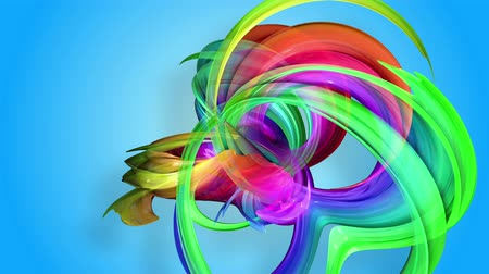 abstract animated : Rainbow stripes are moving in a circle and twisting as abstract background. 45
