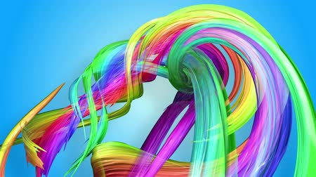 sürekli : Rainbow stripes are moving in a circle and twisting as abstract background. 58