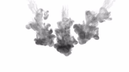 цветной : 3d render of black ink dissolves in water on white background with luma matte as alpha channel for visual effects and easy compositing. 1 Стоковые видеозаписи