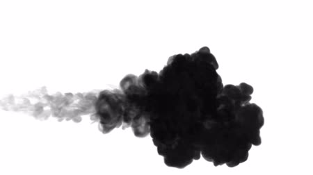 smokey : 3d render of black ink dissolves in water on white background with luma matte as alpha channel for visual effects and easy compositing. 10