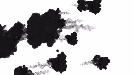 disintegration : 3d render of black ink dissolves in water on white background with luma matte as alpha channel for visual effects and easy compositing. 20