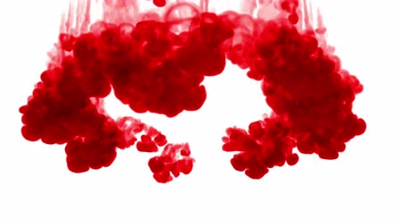 fácil : 3d render of red ink dissolves in water on white background with luma matte as alpha channel for visual effects and easy compositing. 24