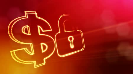 distorção : dollar sign and emblem of lock. Finance background of luminous particles. 3D loop animation with depth of field, bokeh and copy space for your text. Red v6 Stock Footage