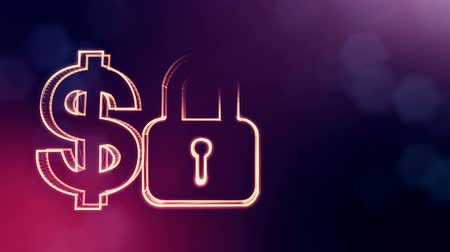 capitalism : dollar sign and emblem of lock. Finance background of luminous particles. 3D loop animation with depth of field, bokeh and copy space for your text. Violet v6