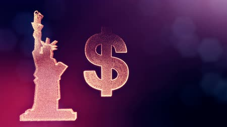 светящийся : dollar sign and emblem of The Statue of Liberty. Finance background of luminous particles. 3D loop animation with depth of field, bokeh and copy space for your text. Violet v6