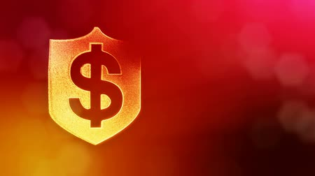 distorção : dollar sign in emblem of shield. Finance background of luminous particles. 3D loop animation with depth of field, bokeh and copy space for your text. Red v6 Stock Footage