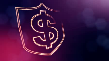 dinamic background : dollar sign in emblem of shield. Finance background of luminous particles. 3D seamless animation with depth of field, bokeh and copy space for your text. Violet v6