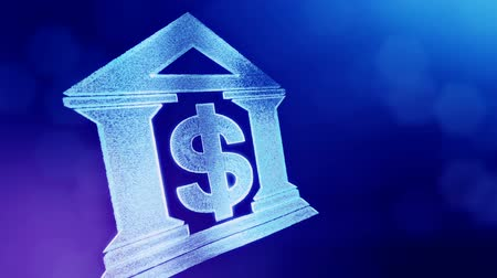 capitalism : dollar sign in emblem of a bank. Finance background of luminous particles. 3D loop animation with depth of field, bokeh and copy space for your text. Blue v6