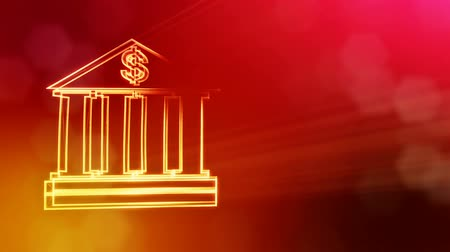 светящийся : dollar sign in emblem of bank. Finance background of luminous particles. 3D seamleass animation with depth of field, bokeh and copy space for your text. Red v6