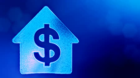 opaque : dollar sign in emblem of a house. Finance background of luminous particles. 3D loop animation with depth of field, bokeh and copy space for your text. Blue v6 Stock Footage