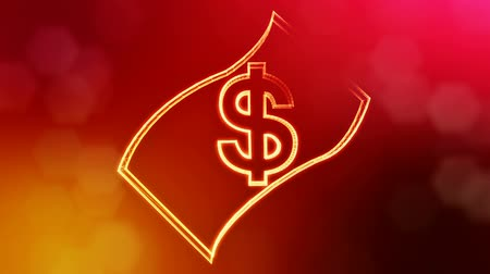 opaque : dollar sign in emblem of banknote. Finance background of luminous particles. 3D seamless animation with depth of field, bokeh and copy space for your text. Red v6
