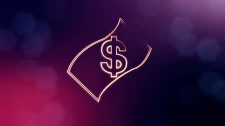distorção : dollar sign in emblem of banknote. Finance background of luminous particles. 3D seamless animation with depth of field, bokeh and copy space for your text. Violet v6