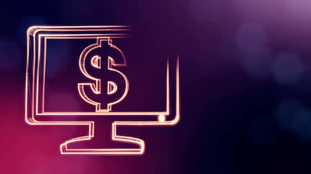dinamic background : dollar sign in emblem of monitor. Finance background of luminous particles. 3D loop animation with depth of field, bokeh and copy space for your text. Violet v6