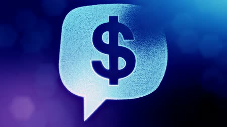 embléma : dollar sign in emblem of cloud message. Finance background of luminous particles. 3D seamless animation with depth of field, bokeh and copy space for your text. Blue v6
