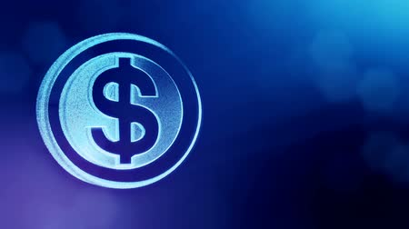 opaque : dollar sign in circles. Finance background of luminous particles. 3D loop animation with depth of field, bokeh and copy space for your text. Blue v6 Stock Footage
