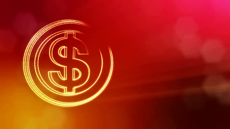 светящийся : dollar sign in circles. Finance background of luminous particles. 3D loop animation with depth of field, bokeh and copy space for your text. Red v6