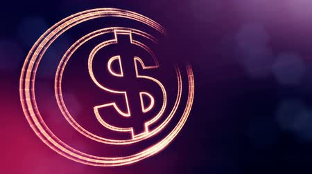 distorção : dollar sign in circles. Finance background of luminous particles. 3D loop animation with depth of field, bokeh and copy space for your text. Violet v6 Stock Footage