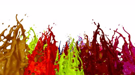 跳ねる : splash of liquid paint on music speaker. 3d animation in 4k. 7 動画素材